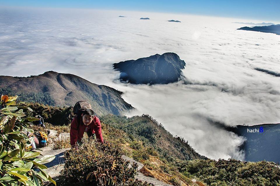 Xuyên thủng tầng mây trên đỉnh núi Muối