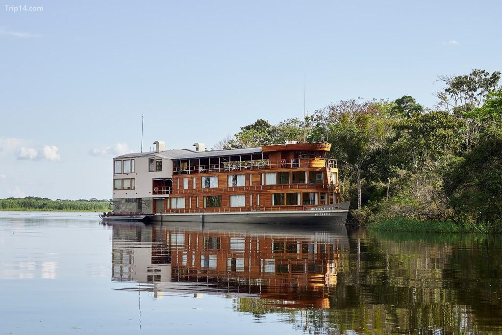 Tàu Delfin II đang neo đậu dọc theo sông Amazon trong khi hành khách khám phá khu rừng