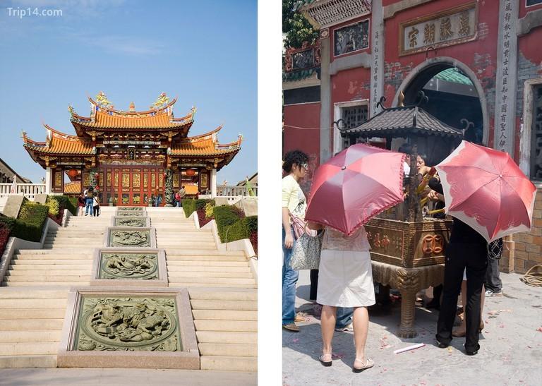 Đền A-Ma là ngôi đền lâu đời nhất trong thành phố và được cho là đã tạo nên tên tuổi của Ma Cao | Trái: Henry Westheim Photography / Alamy Kho ảnh. Quyền: LMR Group / Alamy Kho ảnh