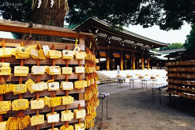 Các thẻ cầu nguyện ở đền thờ Meiji