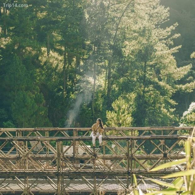 cây cầu sắt nằm trên đường từ hồ Tuyền Lâm đến làng Đất Sét