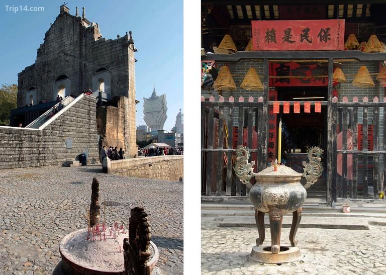 Phía sau Di tích Thánh Paul, được cho là địa danh nổi tiếng nhất ở Ma Cao, là Đền Na Tcha nhỏ bé nhưng thú vị | Trái: Glyn Genin / Alamy Kho ảnh. Phải: Olga Kolos / Alamy Kho ảnh