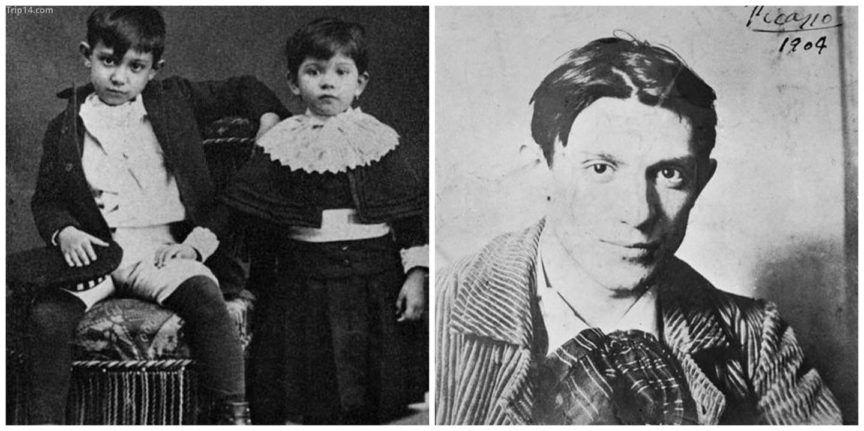 Picasso với em gái của mình       Picasso năm 1904