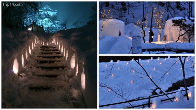 Lâu đài Yokote trong Lễ hội Tuyết © Ippukucho / WikiCommons / Kamakura | © sumomojam // Photozou / Mini kamakura | © sumomojam / Photozou