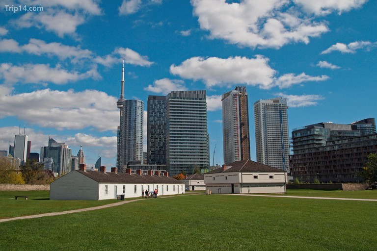 The wooden buildings within Fort York, Toronto, Ontario, Canada