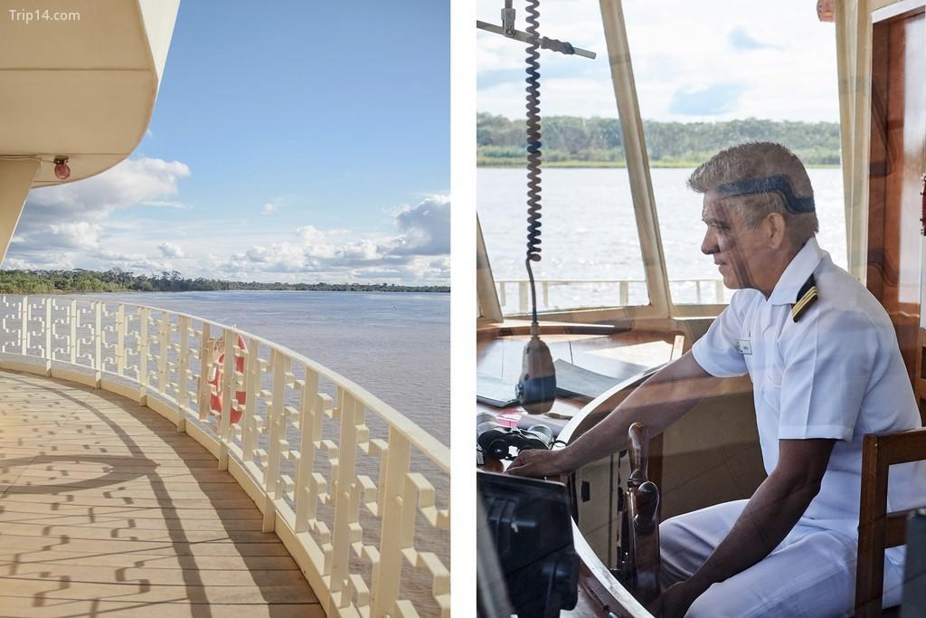 Quang cảnh Amazon từ tầng trên cùng của tàu du lịch khi thuyền trưởng hướng dẫn con tàu đi dọc theo vùng nước nguy hiểm của Amazon trong Khu bảo tồn quốc gia Pacaya Samiria