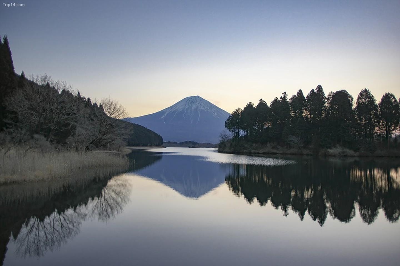 Núi Phú Sỹ nhìn từ Hồ Tanuki ở tỉnh Shizuoka vào mùa đông