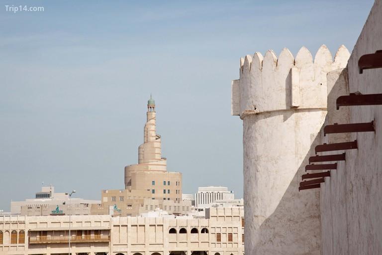 Ad Dawhah, Doha Fort Minaret of FANAR the Qatar Islamic Cultural Center in Doha Qatar. Image shot 2009.
