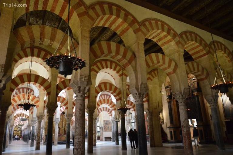 Các mái vòm nổi tiếng của nhà thờ Hồi giáo của Cordoba